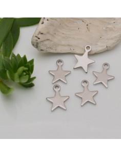 5 pz ciondolo stella acciaio inox lisci 9 x 11 mm inossidabile per fai da te
