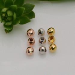 pallina in argento 925 sfaccettata 3 mm Perle distanziatori 40 pz colore varia