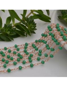 50 cm catena rosario cristalli 3 mm concatenata filo oro rosa in ottone col VERDE fai da te