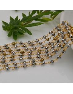 50 cm catena rosario cristalli argento e oro 3 mm concatenata filo oro fai da te