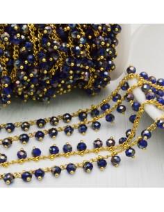 50 cm Catena Rosario con cristalli 4 mm col blu in Ottone per bigiotteria