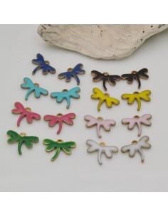 2 pz ciondoli libellula in ottone smaltato sopra e sotto 8.5 x 12 mm per fai da te