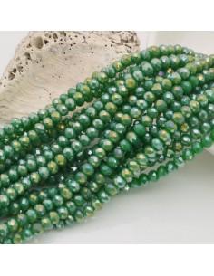filo cristalli 3 x 4 mm verde AB Rondelle sfaccettato 150 pz fai da te