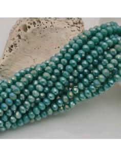 filo cristalli 3 x 4 mm verde tiffany AB Rondelle sfaccettato 150 pz per fai da te