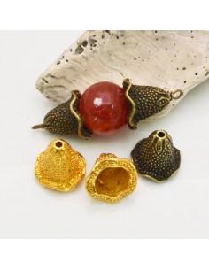 Copri perla con coni fantasia a coppette 12 x 14 mm 4 pz