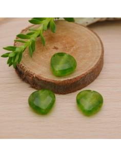 pietre dure a forma cuore 10 mm g. peridoto e Piatta sfaccettata per orecchini