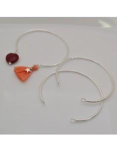 base bracciale rigido in ottone filo 3 mm diametro 50 mm colore argento con due anellini i lati per fai da te