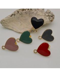 Perni smaltati a forma cuore 15.5 x 17 .5 mm base orecchini oro una coppia per fai da te