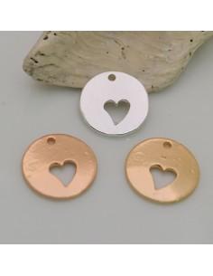 2 pz ciondoli medaglia forma cuore vuoto placcato argento oro ed oro rosa 16.5 mm fai da te