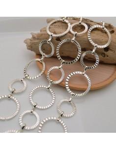catene sfaccettata in metallo colore argento forma a cerchio rotonda 19 mm e 26 mm per fai da te