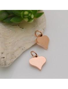 ciondolo a cuore in acciaio lucido 8 mm con anellini 5 mm per bracciali collana orecchini per fai da te