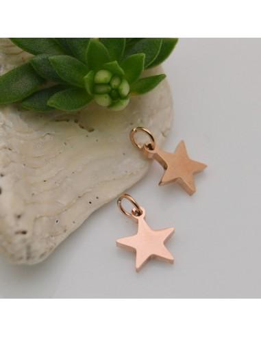 ciondolo a stella in acciaio lucido 8 mm con anellini 5 mm per bracciali collana orecchini per fai da te