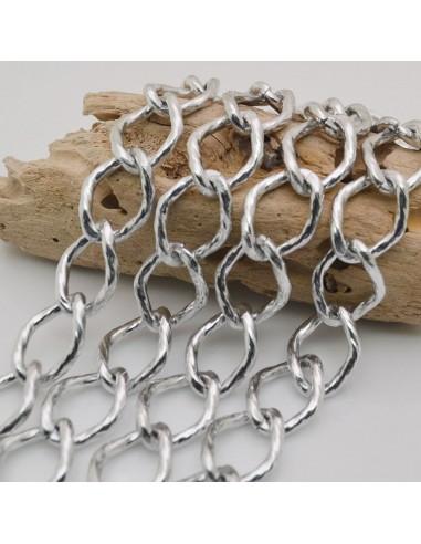CATENA alluminio forma groumette maglia rombo col Argento 17 x 22 mm 1mt