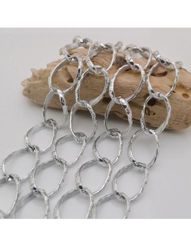 CATENA alluminio forma groumette con filo piatta con fiori col Argento 18 x 28 mm 1mt