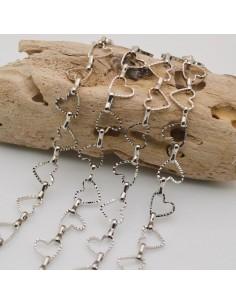 catene forma a cuore sfaccettata argento rodio maglia 9 mm in ottone per fai da te