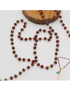 catena rosario con cristalli 2 x 3 mm base oro in ottone colore marrone/bordò orecchini, collane e bracciale fai da te.