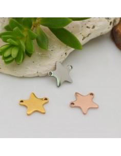 ciondolo stelle in acciaio inox inossidabile liscio con due foro orizzontali 9 x 10 mm per le tue creazioni