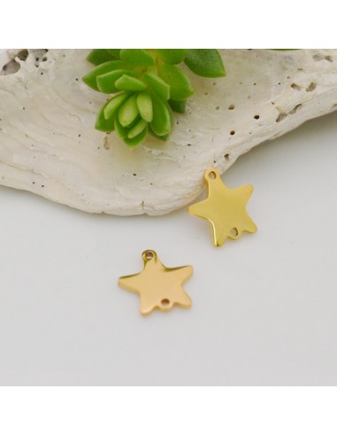 ciondolo stelle in acciaio inox inossidabile liscio con due foro sotto e sopra 9 x 10 mm per le tue creazioni