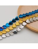 perle ematite distanziatore forma cuore liscio 6 mm colore oro e argento filo 40 cm