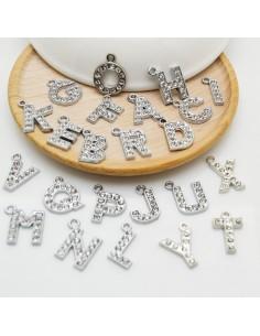 ciondoli lettere Alfabeto iniziale con strass in metallo 13 x 17 mm colore argento rodio per fai da te