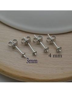 orecchini a perno in argento 925% con piatto 3 mm 4 mm perno 14 mm 5 paia