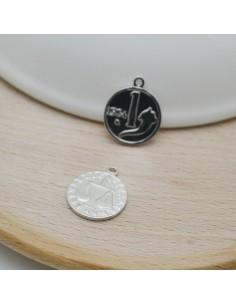 ciondolo in argento 925 forma moneta 12.5 x 15 mm per le tue creazioni