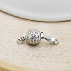 Chiusura in argento 925 a pallina con zirconi 7.5 mm con due anellini 5 mm per collana e bracciale