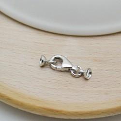 moschettone in argento 925 6.5 x 20 mm due coppetta 4 mm per copri fili per collana e bracciale