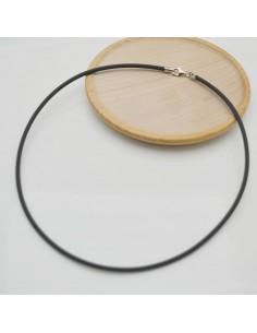 base collana caucciù chiusura in argento 925 cordoni filo 3 mm nero uomo donne viaria misura