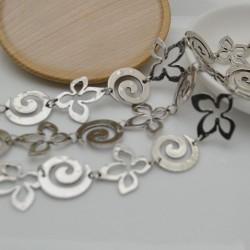 catena con fantasia argento antico forma spirale 22 mm e fiore 25 mm 1mt per orecchini collane e bracciali fai da te