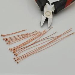 Chiodini Spilli testa Pallina col oro rosa varia misura in ottone per Bigiotteria