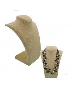 Collo per collana Espositore porta collana busto paglia colore panna vetrina Gioielli Bigiotteria