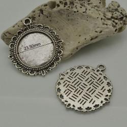 BASE CIONDOLI Cabochon 30 X 33 mm interno 23.5 mm colore argento in metallo 4 pz per bigiotteria