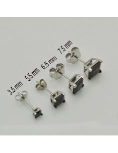 orecchini punto luce argento 925 quadrato orecchini donna zirconi nero