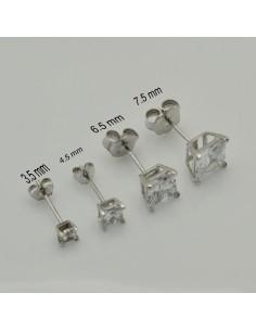 orecchini punto luce argento 925 quadrato orecchini donna ZIRCONE BIANCO