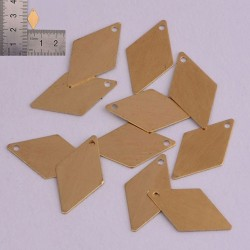 6 pz ciondoli forma forma di Diamante da incidere in ottone con foro 15 x 8.5 mm
