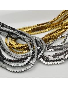 perle ematite distanziatore forma cuore liscio 4 mm colore oro e argento filo 40 cm