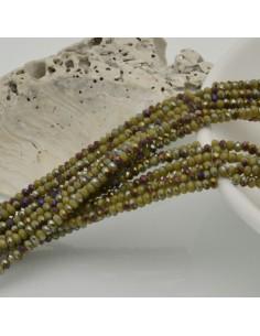 filo di cristalli sfaccettati cipollotti rondelle senape E VIOLA 1.5 x 2.5 mm circa 180 pz per tuoi gioielli