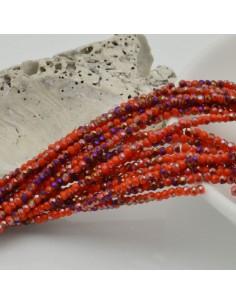 filo di cristalli sfaccettati cipollotti rondelle arancione E VIOLA 1.5 x 2.5 mm circa 180 pz per tuoi gioielli