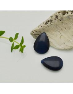 pietre occhio di gatto forma gocce piatta foro laterale colore blu 12 x 18 MM per gioielli