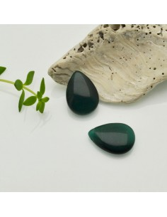 pietre occhio di gatto forma gocce piatta foro laterale colore verde scuro 12 x 18 MM per gioielli