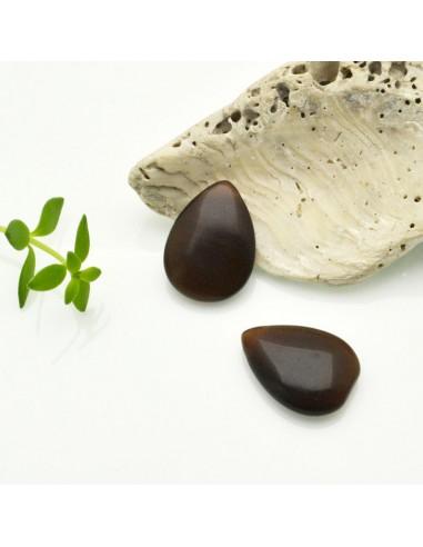 pietre occhio di gatto forma gocce piatta foro laterale colore marrone 12 x 18 MM per gioielli