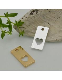 1 pz ciondolo rettangolare forma cuore vuoto 18 x 8 mm con foro alto 1_8 mm per le tuo creazione