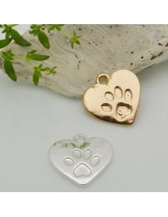 1 pz ciondolo forma cuore impronta zampa cane gatto 18.5 X 19.5 MM per le tuo creazione