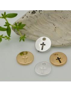 2 PZ Ciondoli medaglia croce 10 mm in ottone placato per le tue creazioni