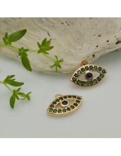1 PZ Ciondoli Charms oro occhio greco con strass blu verde 9 x 12.50 mm in ottone
