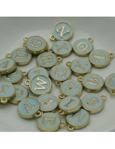 Ciondolo charms lettera alfabeto smalto 26 pz completo 12x15 mm in ottone