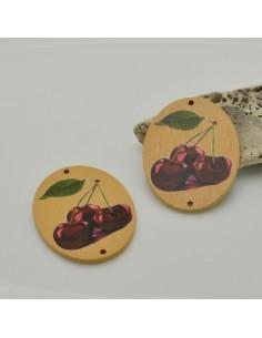 2 PZ Ciondoli Elemento 2 FORI pendente in legno con disegno Ciliegia 35 x 45 mm per orecchini