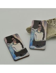 2 PZ Ciondoli Elemento 2 FORI pendente in legno con disegno Frida Kahlo 25 x 50 mm per orecchini