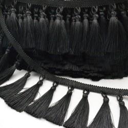 1 mt passamaneria con nappine frangia 10 cm colore nero Ottima Qualità